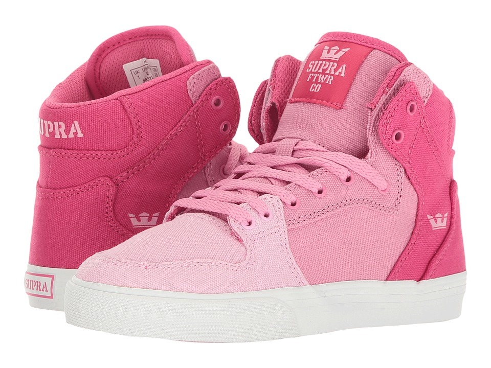 Supra Kids - Vaider (Little Kid/Big Kid) (Pink Gradient/White) Girls Shoes