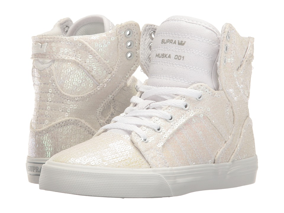 Supra Kids - Skytop (Little Kid/Big Kid) (White Sequin) Girls Shoes
