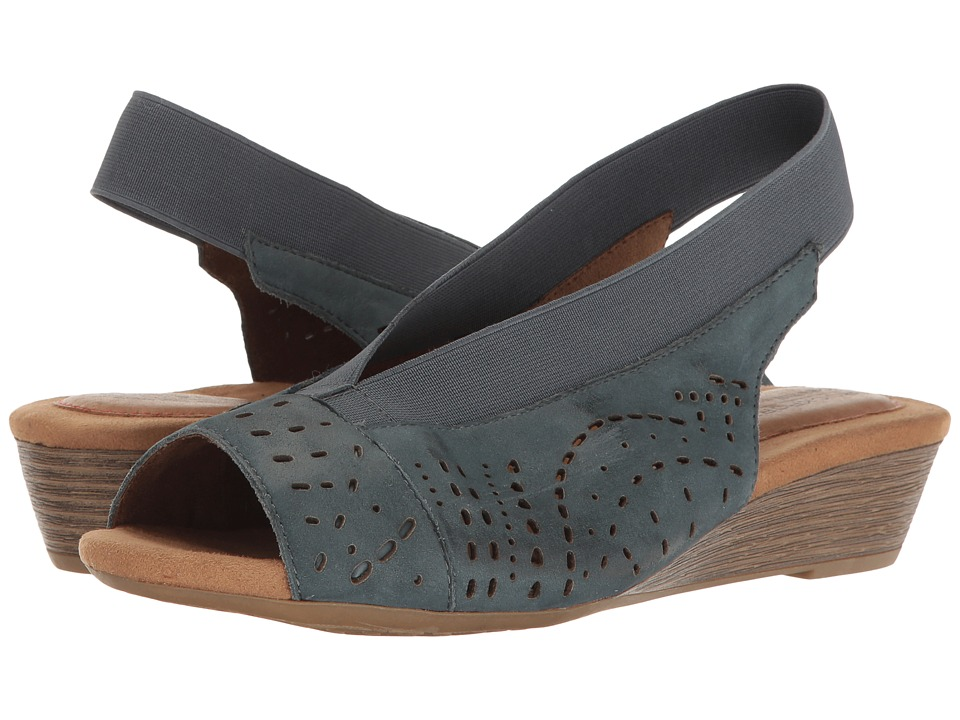 Rockport Cobb Hill Collection Cobb Hill Judson Peep Sling (Blue Nubuck) Women