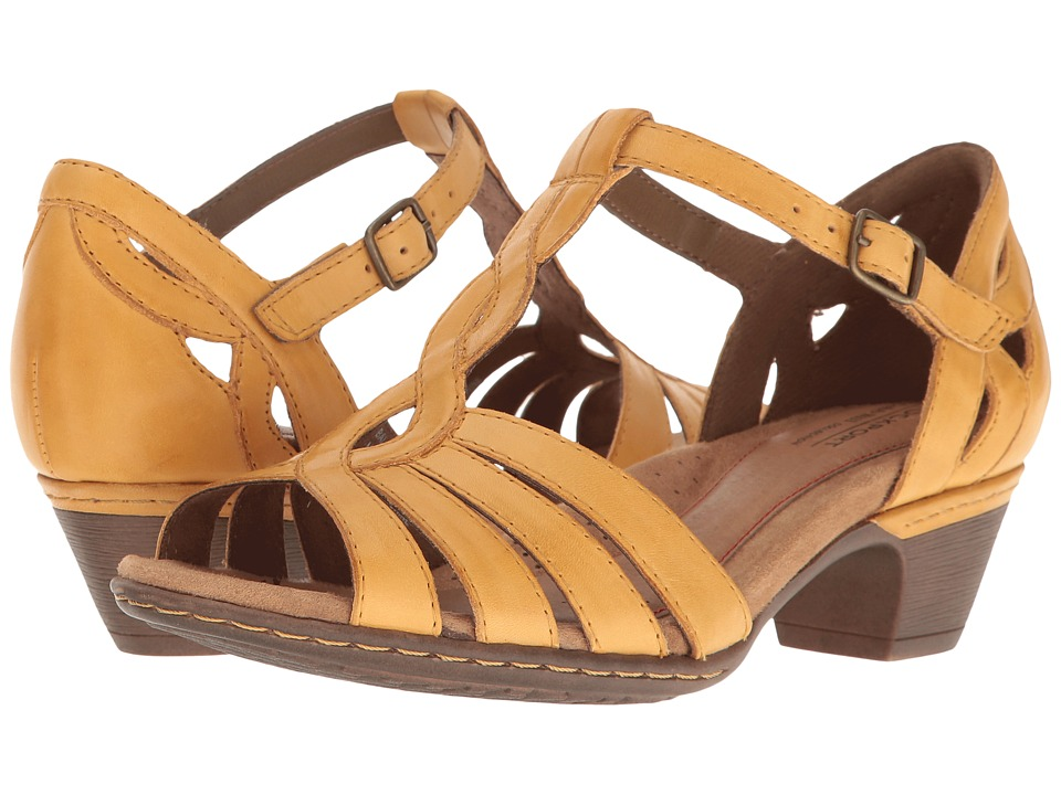 Rockport Cobb Hill Collection Cobb Hill Abbott Curvy T-Strap (Yellow Leather) Women