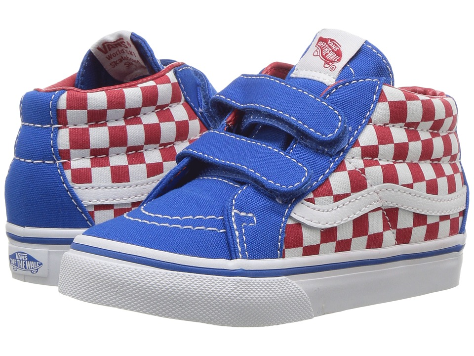 Vans Kids - Sk8-Mid Reissue V (Toddler) ((Checkerboard) Racing Red/Imperial Blue) Boys Shoes