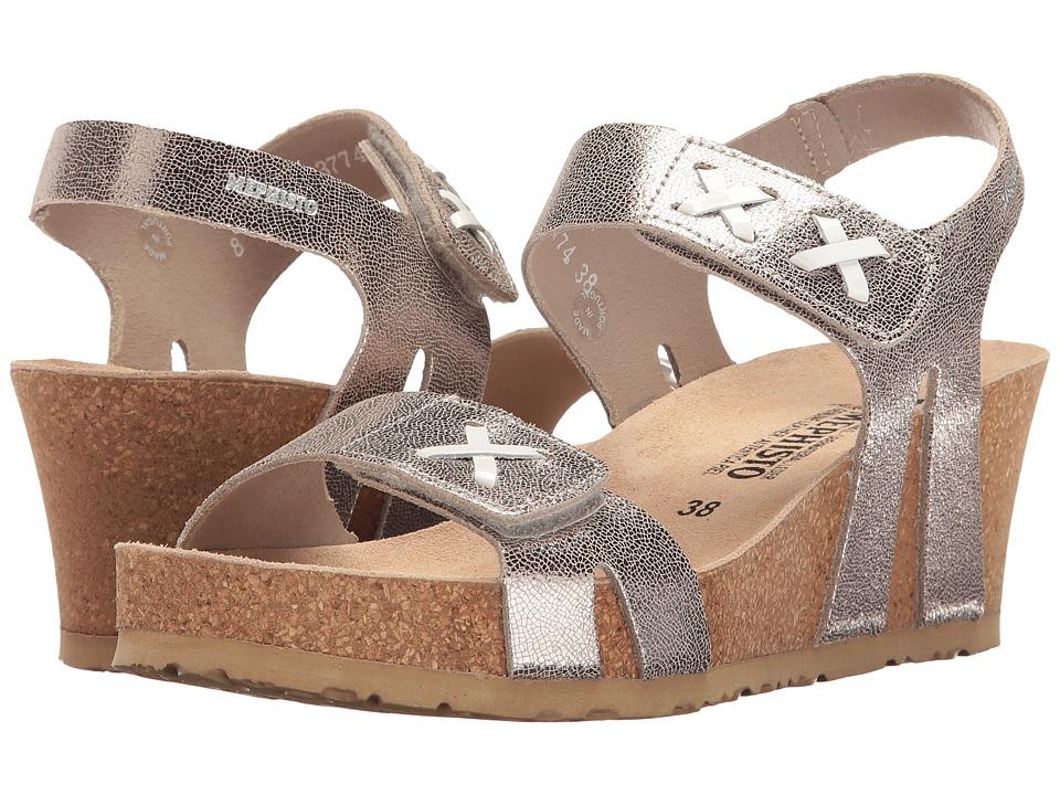 Mephisto - Loreta (Silver Venise/White Patent) Women's Wedge Shoes