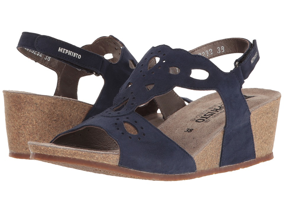 Mephisto - Mayla (Indigo Velcalf Premium) Women's Wedge Shoes