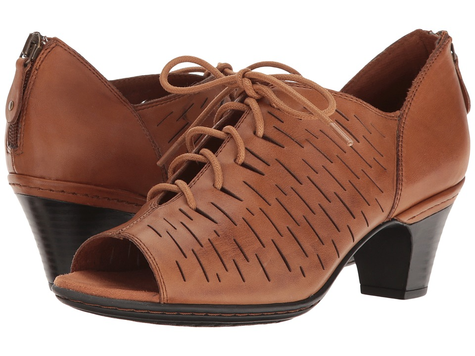 Rockport Cobb Hill Collection - Cobb Hill Spencer Perforated Lace-Up (Tan Leather) Women's Toe Open Shoes