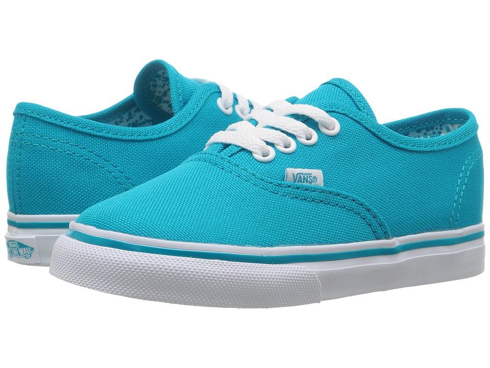 Vans Kids - Authentic (Toddler) ((Neon Splatter) Neon Blue/True White) Girls Shoes