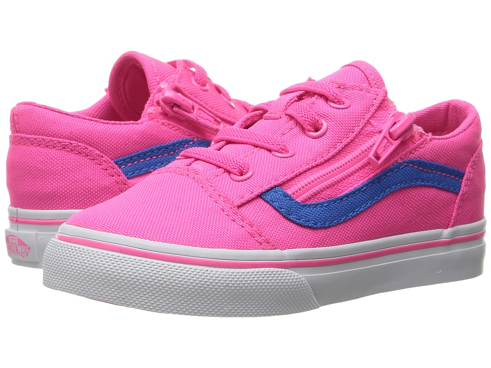 Vans Kids - Old Skool Zip (Toddler) ((Neon Canvas) Pink/Blue) Girls Shoes