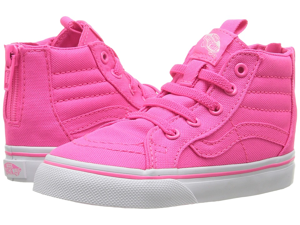 Vans Kids - Sk8-Hi Zip (Toddler) ((Neon Canvas) Pink/True White) Girls Shoes
