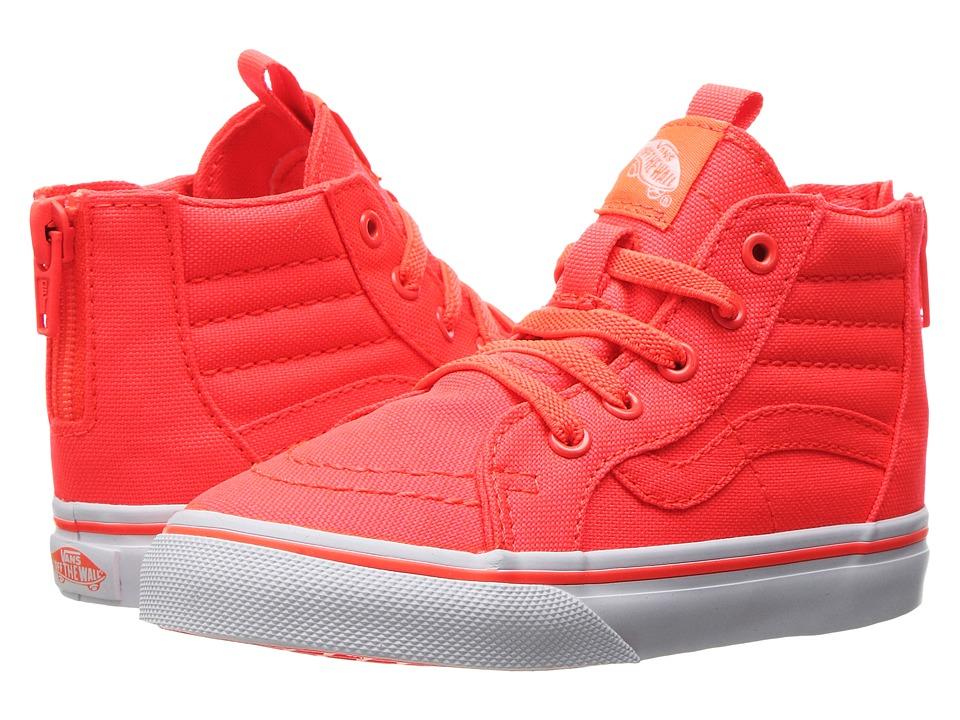 Vans Kids Sk8-Hi Zip (Toddler) ((Neon Canvas) Coral/True White) Girls Shoes