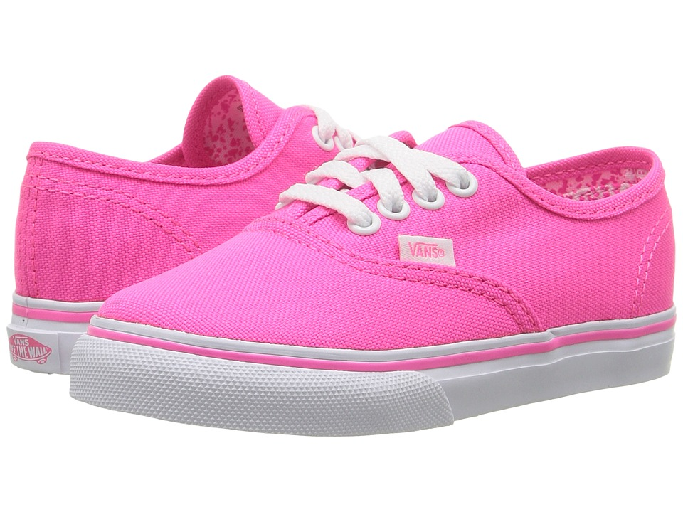 Vans Kids - Authentic (Toddler) ((Neon Splatter) Neon Pink/True White) Girls Shoes
