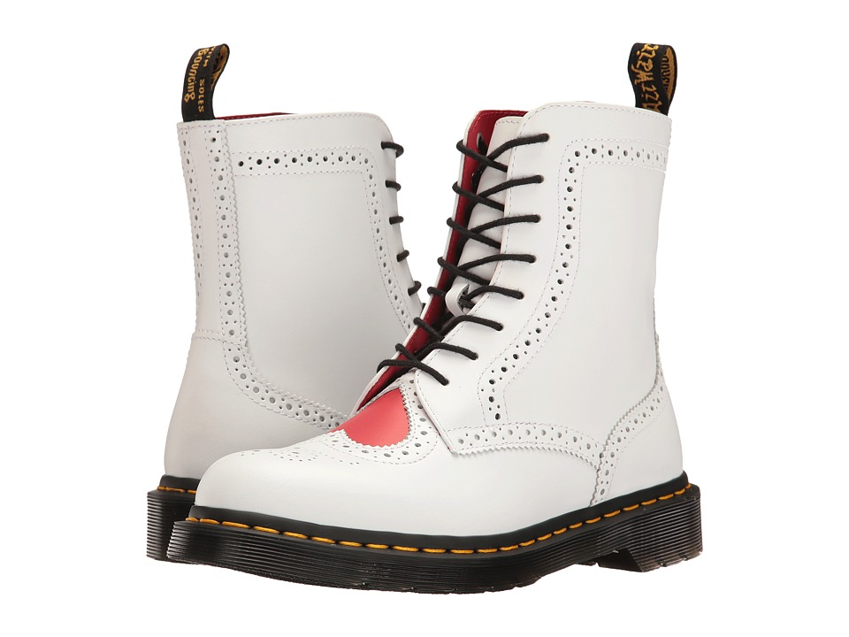 Dr. Martens - Bentley II HRT (White/Heart Red Venice/Smooth) Women's Boots