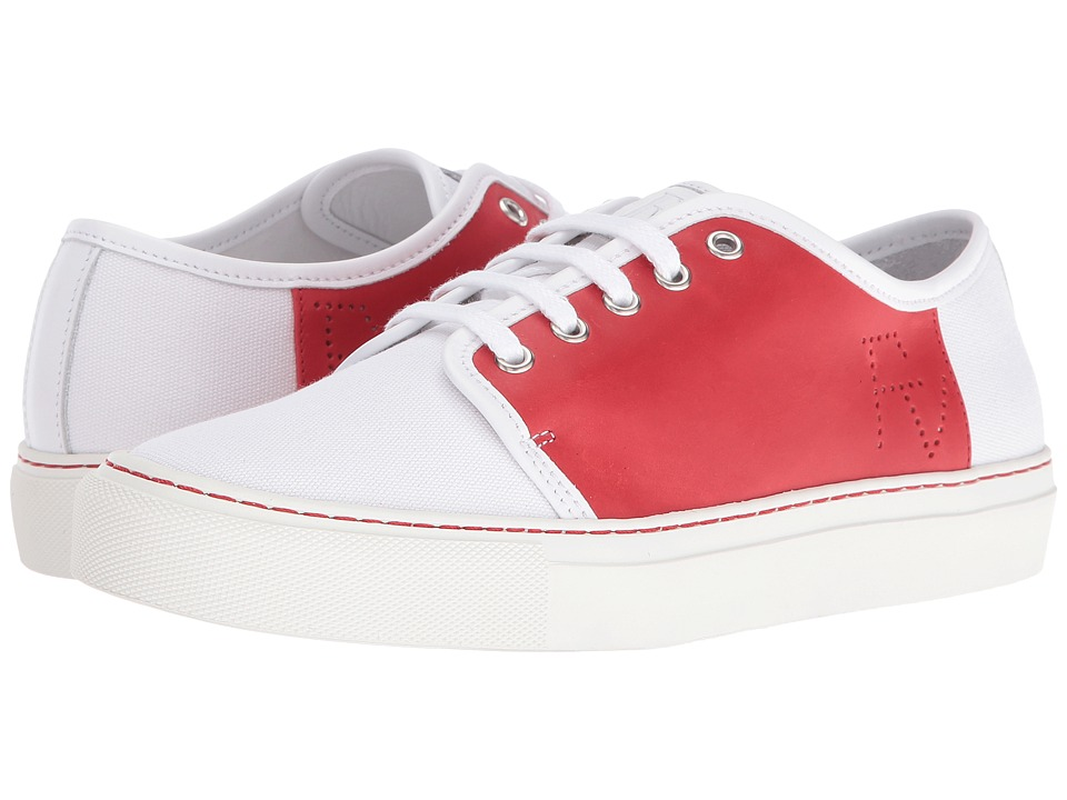 Frances Valentine - Dallas (Red Canvas/White Leather) Women's Shoes