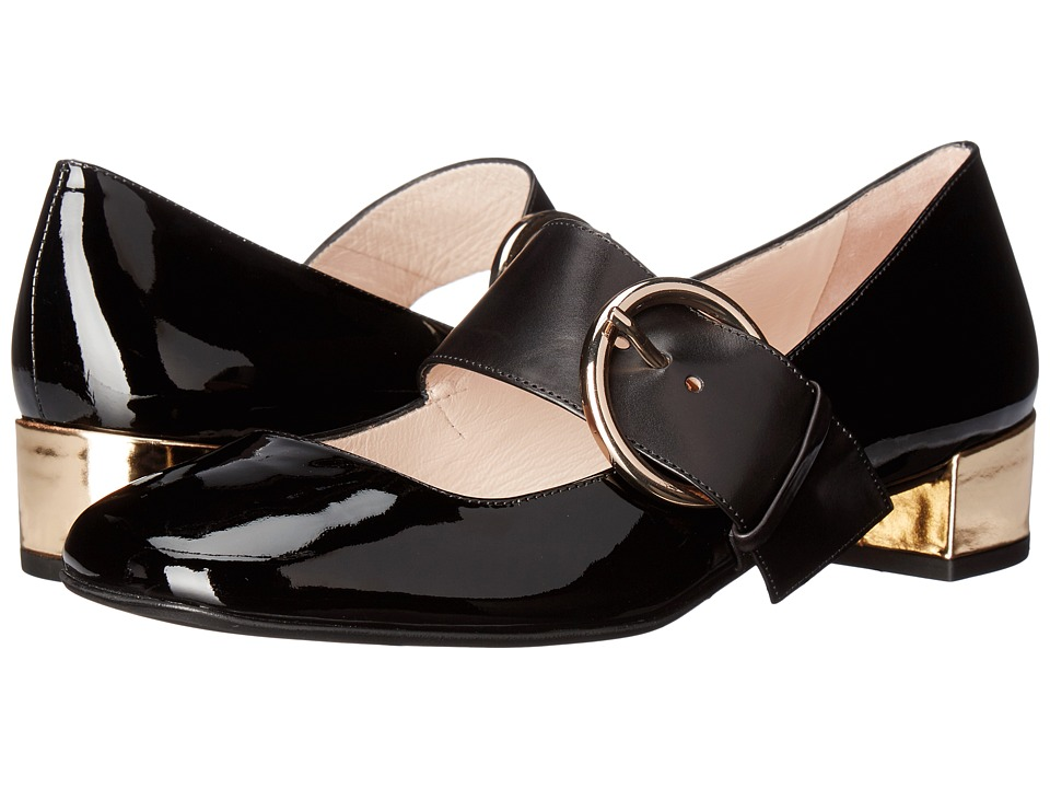 Frances Valentine Katy (Black/White/Gold Patent Leather) Women
