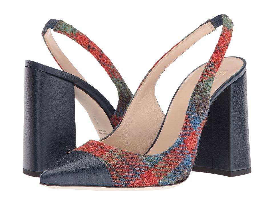 Frances Valentine - Sandy (Blue Leather/Multi Plaid Wool) Women's Shoes
