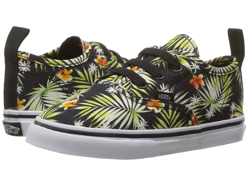 Vans Kids - Authentic V Lace (Toddler) ((Decay Palms) Black/True White) Girls Shoes