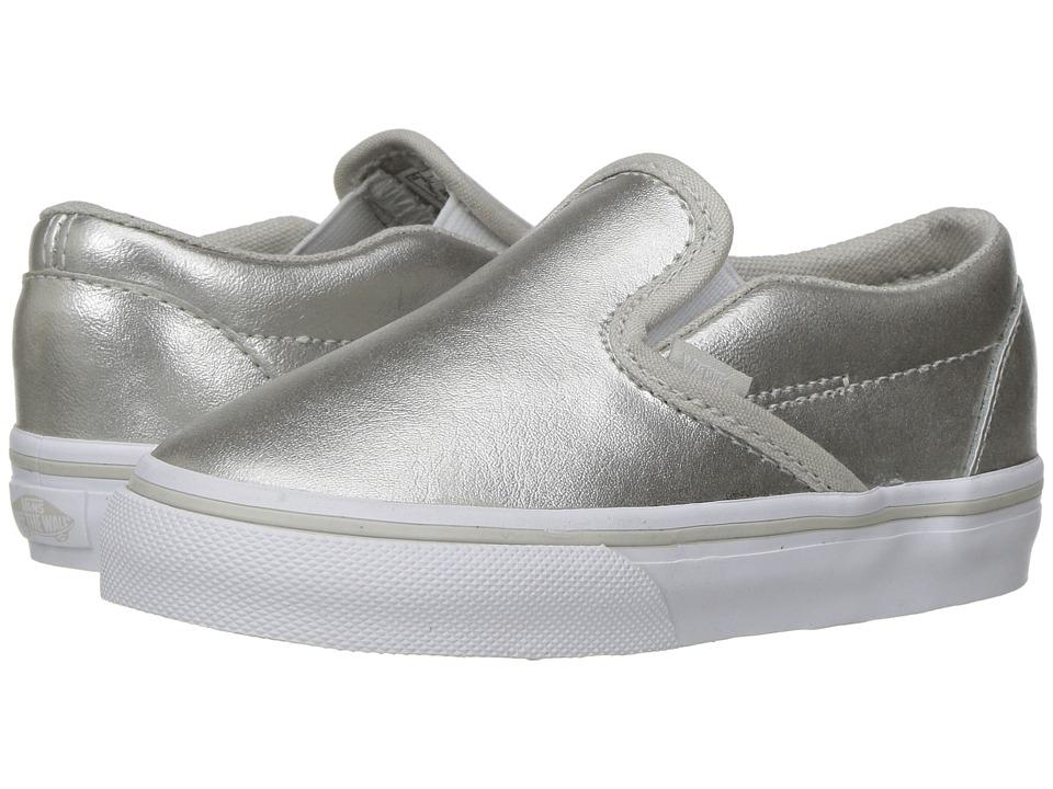 Vans Kids - Classic Slip-On (Toddler) ((Metallic) Silver/True White) Girls Shoes