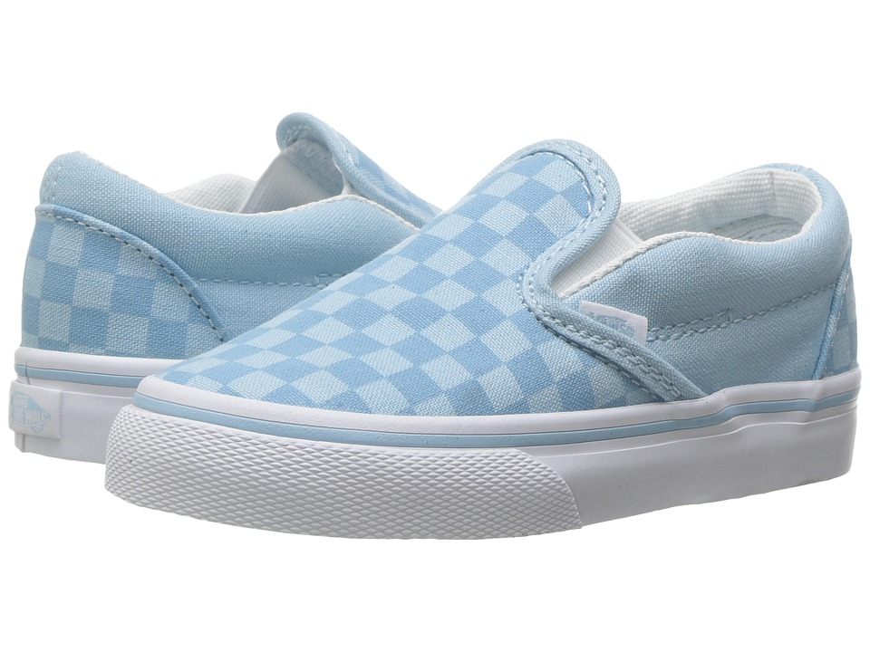 Vans Kids Classic Slip-On (Toddler) ((Tonal Check) Crystal Blue) Girls Shoes