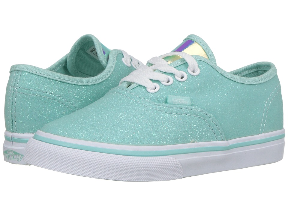 Vans Kids Authentic (Toddler) ((Glitter & Iridescent) Blue/True White) Girls Shoes