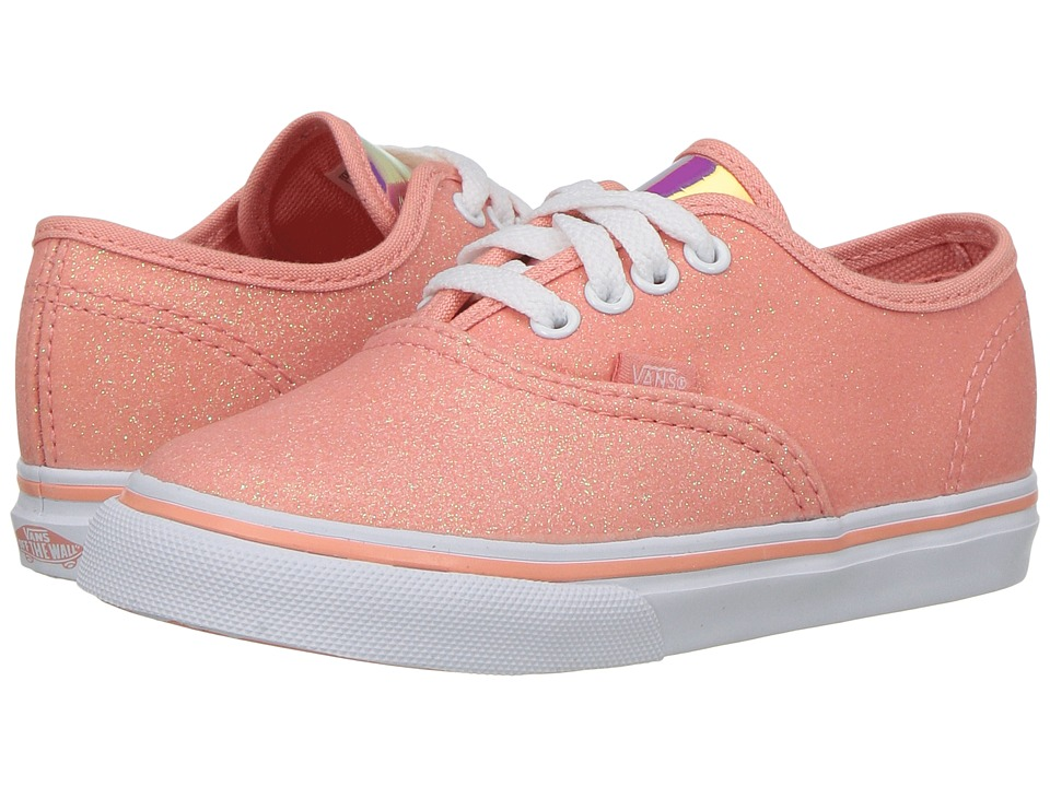 Vans Kids - Authentic (Toddler) ((Glitter & Iridescent) Coral/True White) Girls Shoes