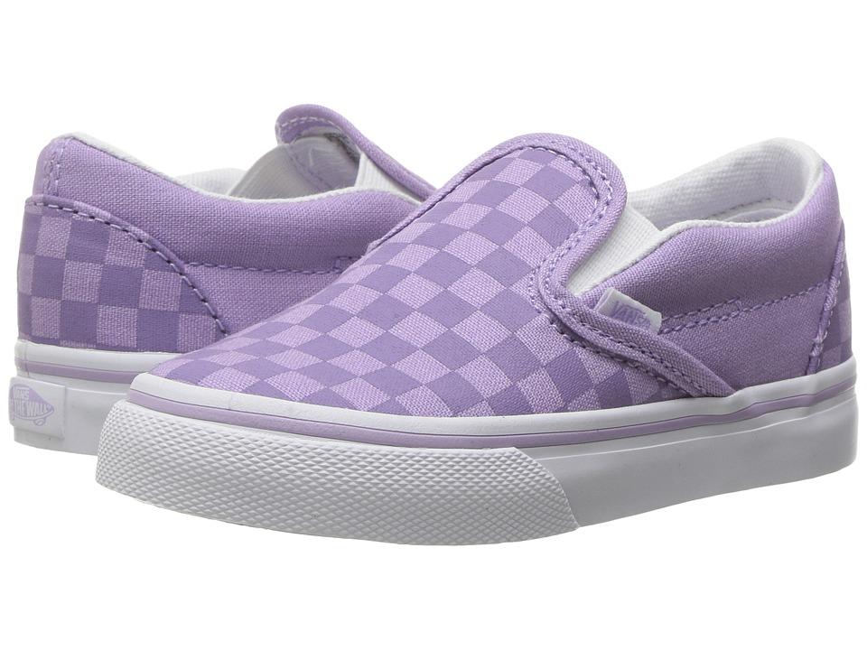 Vans Kids - Classic Slip-On (Toddler) ((Tonal Check) Lavender) Girls Shoes
