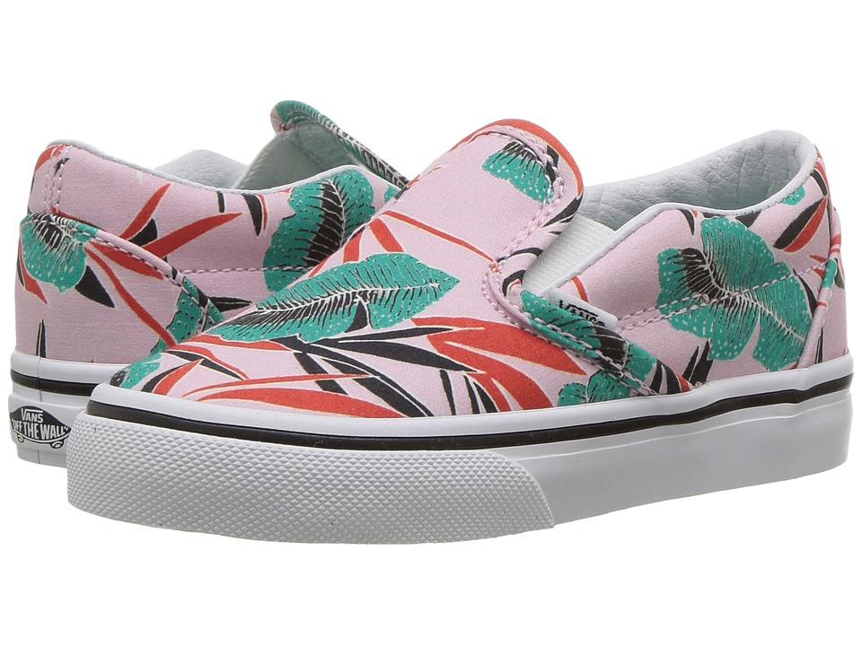 Vans Kids - Classic Slip-On (Toddler) ((Tropical Leaves) Pink Lady) Girls Shoes