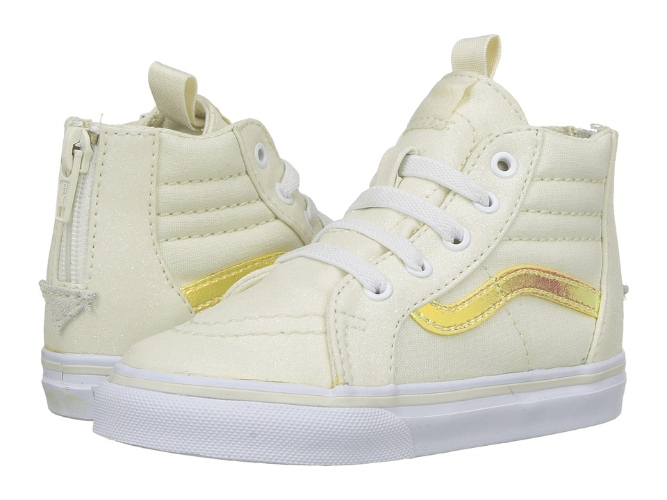 Vans Kids Sk8-Hi Zip (Toddler) ((Glitter & Iridescent) White/True White) Girls Shoes