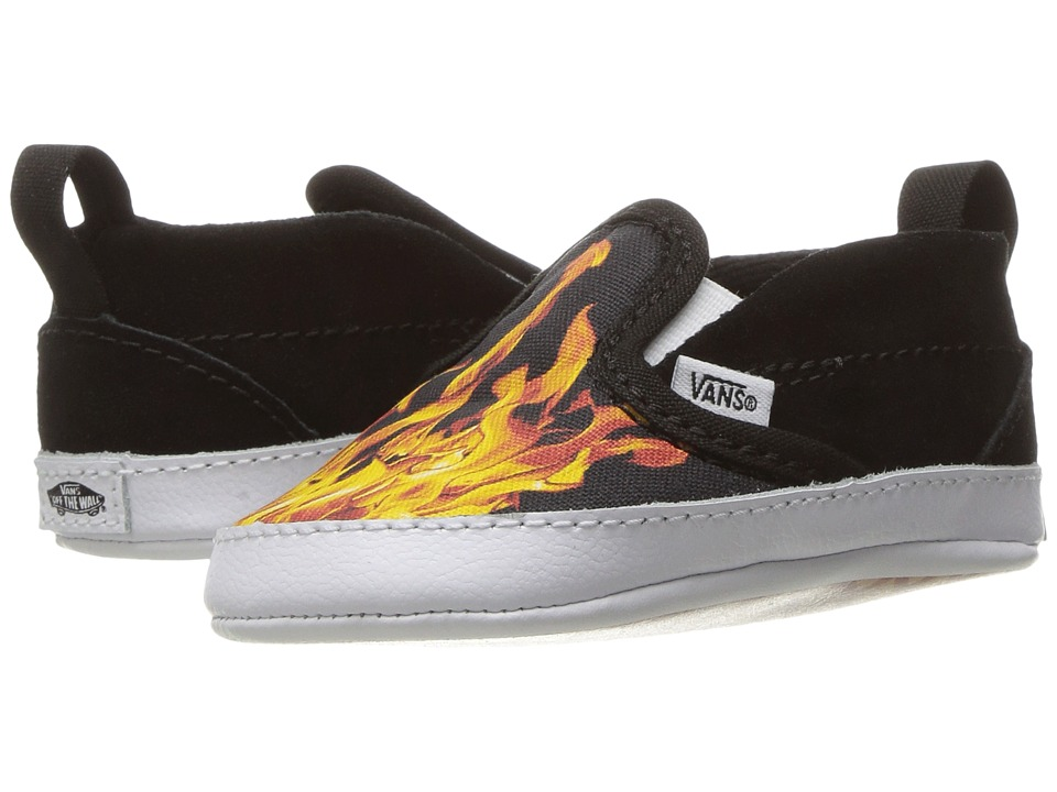 Vans Kids - Slip-On V Crib (Infant/Toddler) ((Digi Flame) Black/True White) Kids Shoes