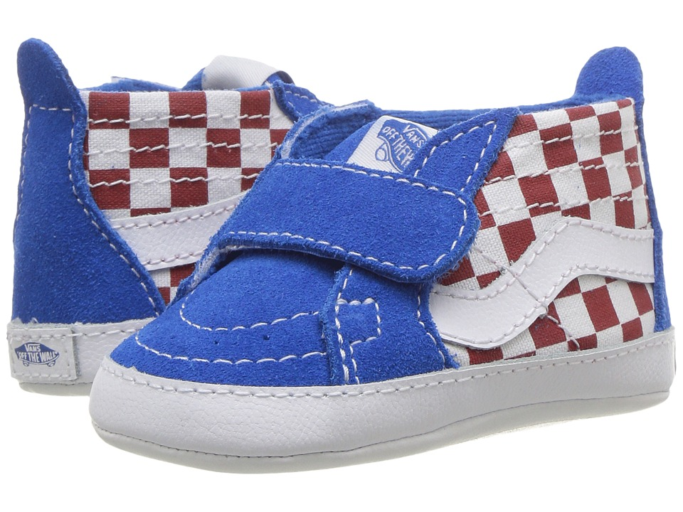 Vans Kids - SK8-Hi Crib (Infant/Toddler) ((Checkerboard) Racing Red/Imperial Blue) Boys Shoes