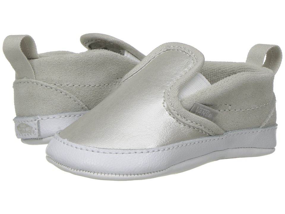 Vans Kids - Slip-On V Crib (Infant/Toddler) ((Metallic) Silver/True White) Girls Shoes