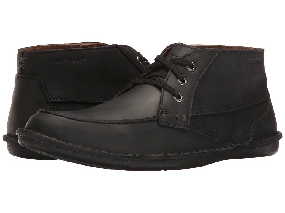 Hush Puppies - Alby Roll Flex (Black Leather) Men's Lace up casual Shoes