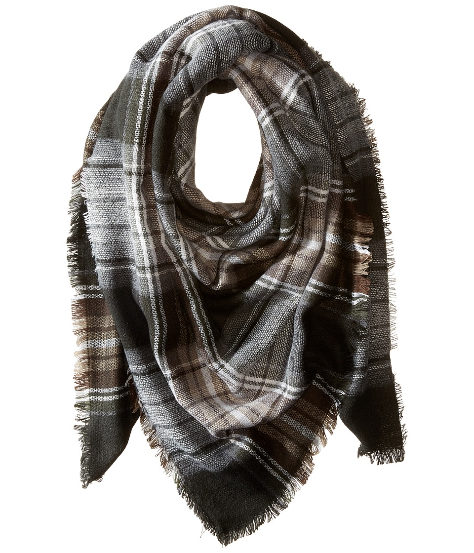 Steve Madden - Classic Plaid Square Scarf (Neutral) Scarves
