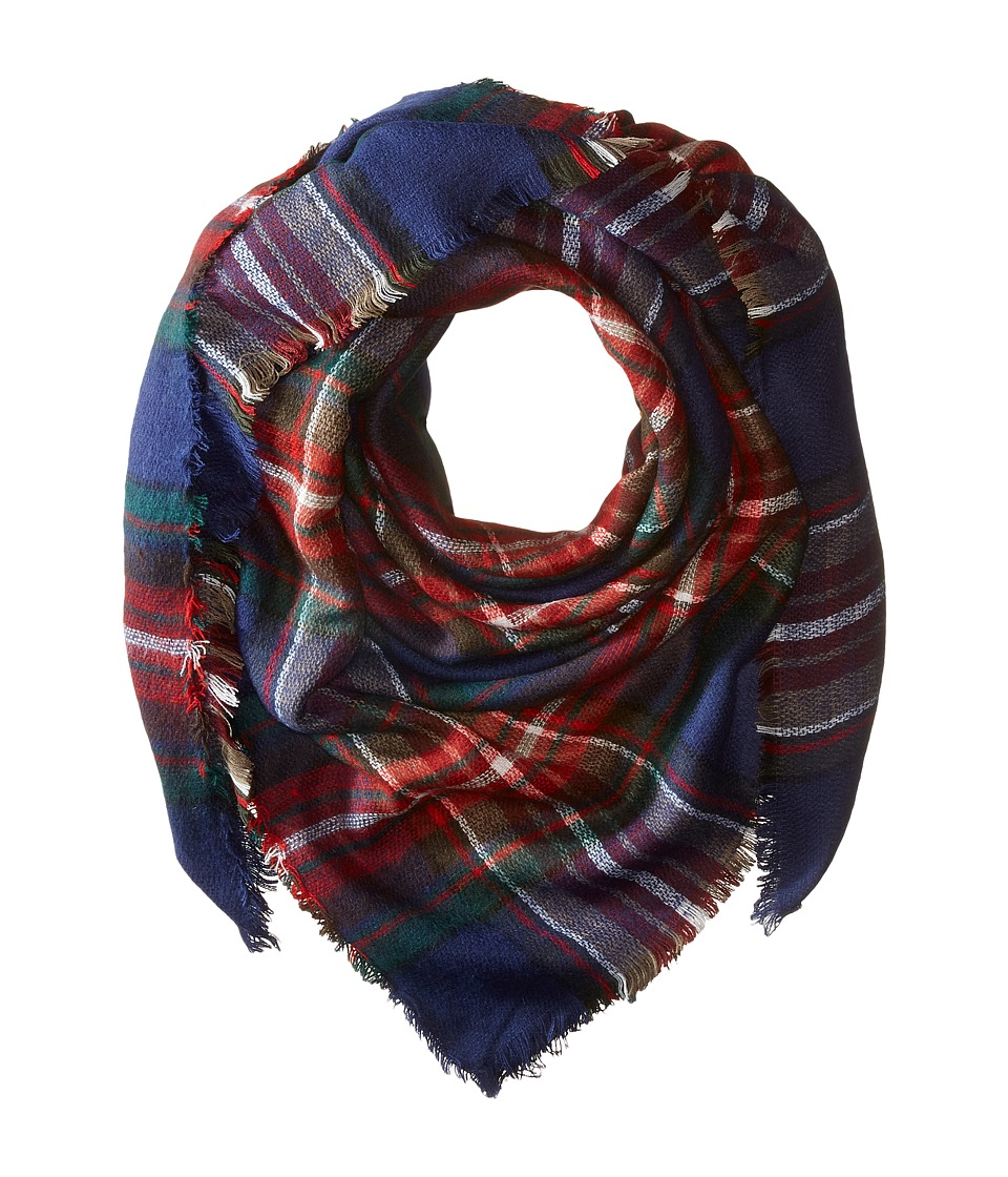 Steve Madden - Classic Plaid Square Scarf (Navy) Scarves