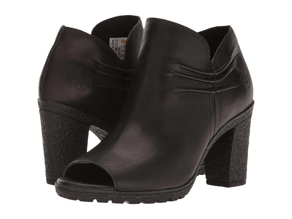 Timberland - Glancy Rouched Peep-Toe (Black Full Grain) High Heels