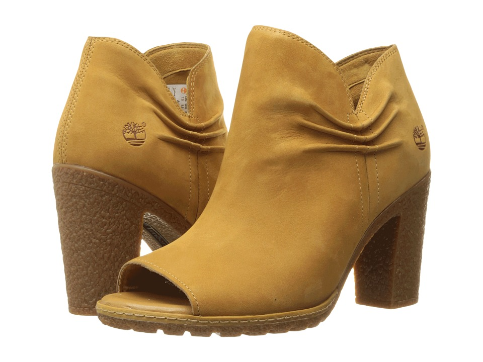 Timberland Glancy Rouched Peep-Toe (Wheat Nubuck) High Heels