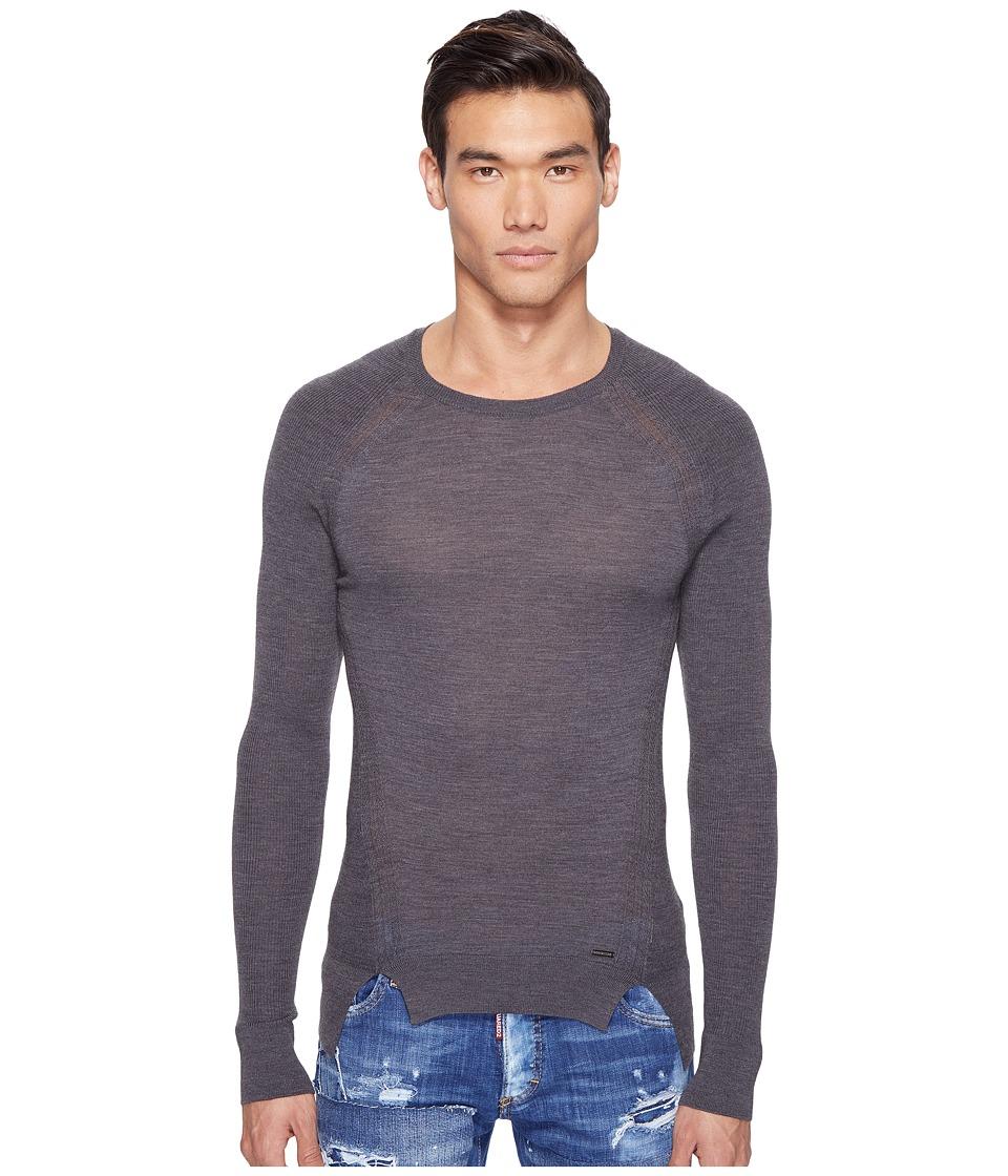 DSQUARED2 - Mod Evening Pullover (Grey Melange) Men's Sweater