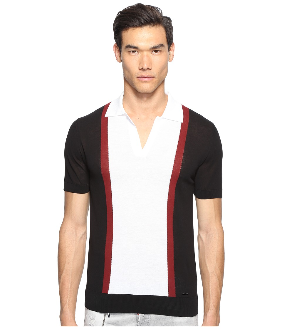DSQUARED2 - Street Ska Contrast Polo (Black/Bordeaux/White) Men's Sweater