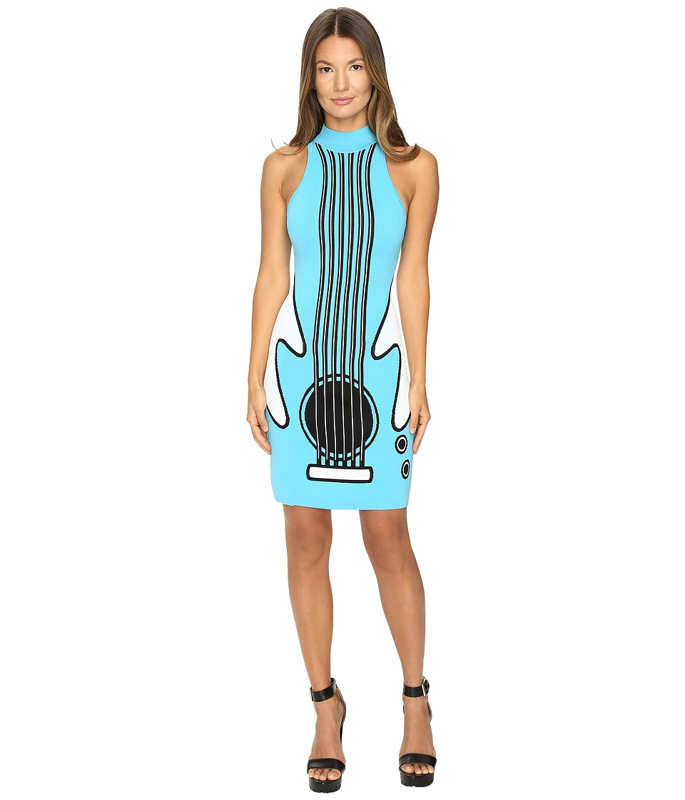 Jeremy Scott - Intarsia Knit Guitar Dress (Blue Guitar Print) Women's Dress