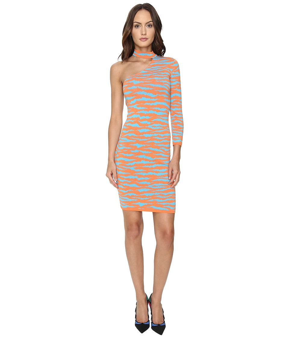 Jeremy Scott - One Shoulder Tiger Knit Dress (Orange Tiger Print) Women's Dress