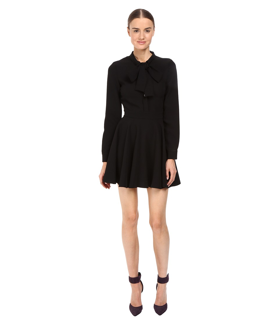 Jeremy Scott - Tie-Neck Long Sleeve Dress (Black) Women's Dress