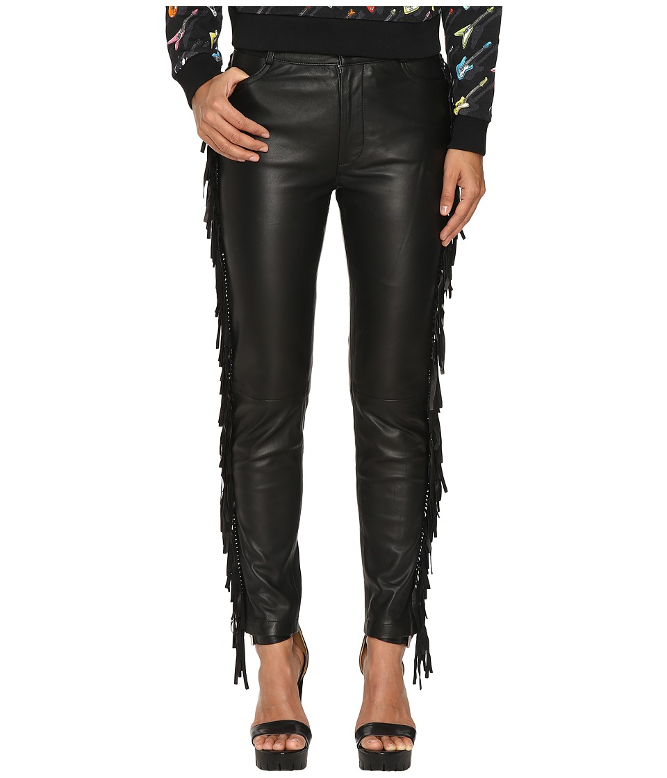 Jeremy Scott - Fringed Leather Pants (Black) Women's Casual Pants