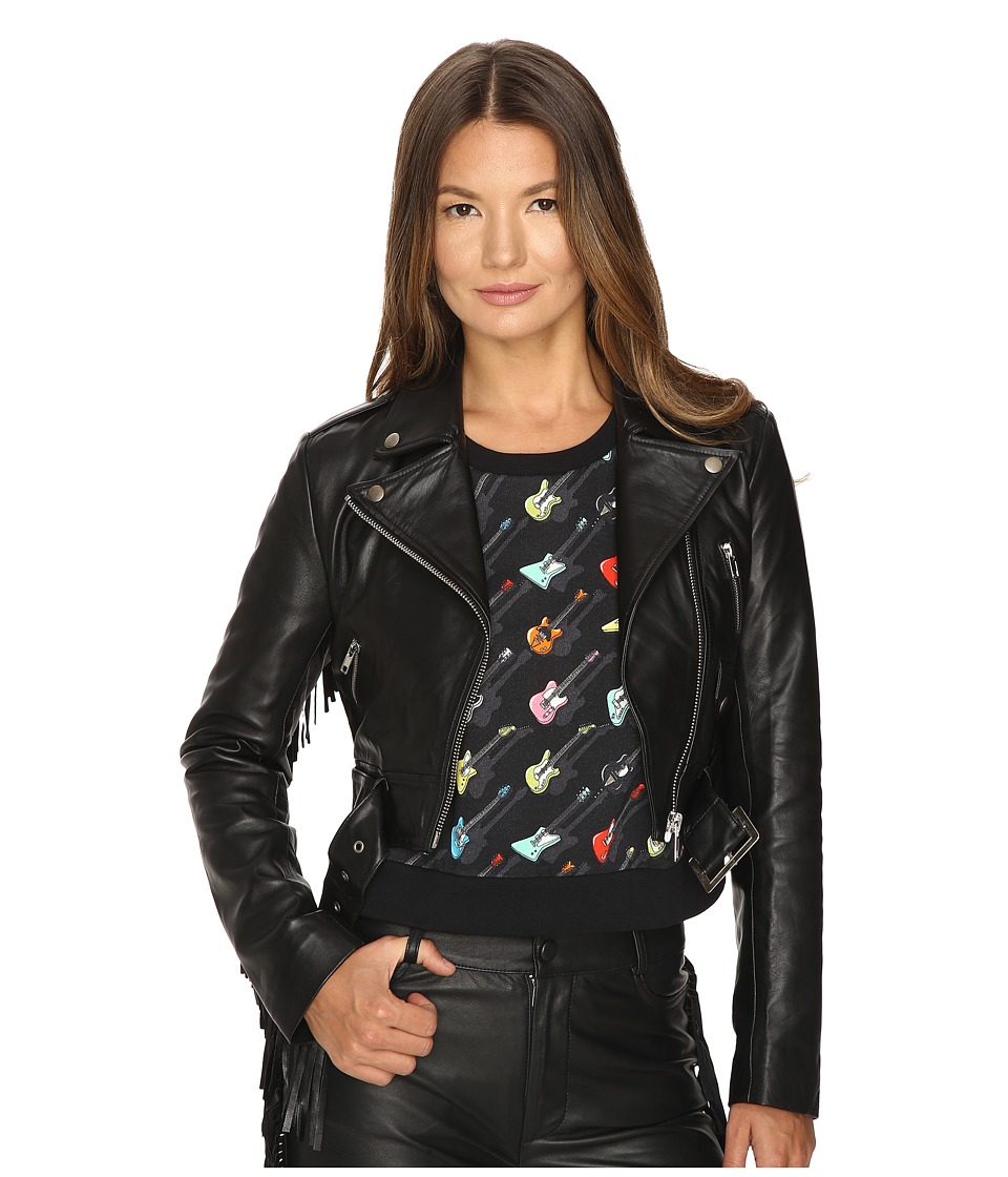 Jeremy Scott - Studded Leather Moto Jacket (Black) Women's Coat