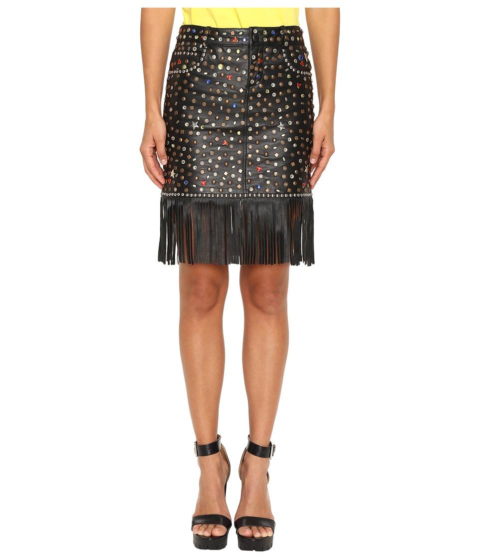 Jeremy Scott - Studded Leather Fringe Skirt (Black) Women's Skirt