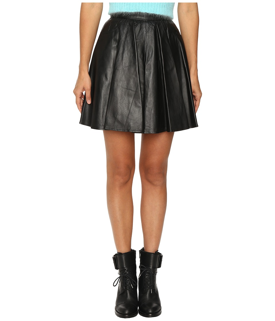 Jeremy Scott - Leather Circle Skirt (Black) Women's Skirt