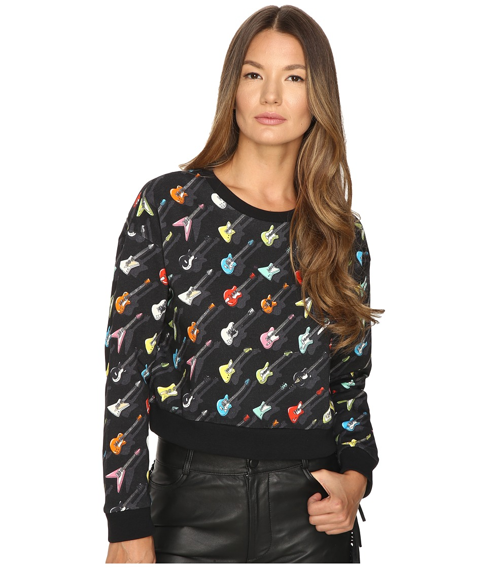 Jeremy Scott - Cropped Guitar Sweatshirt (Multi) Women's Sweatshirt