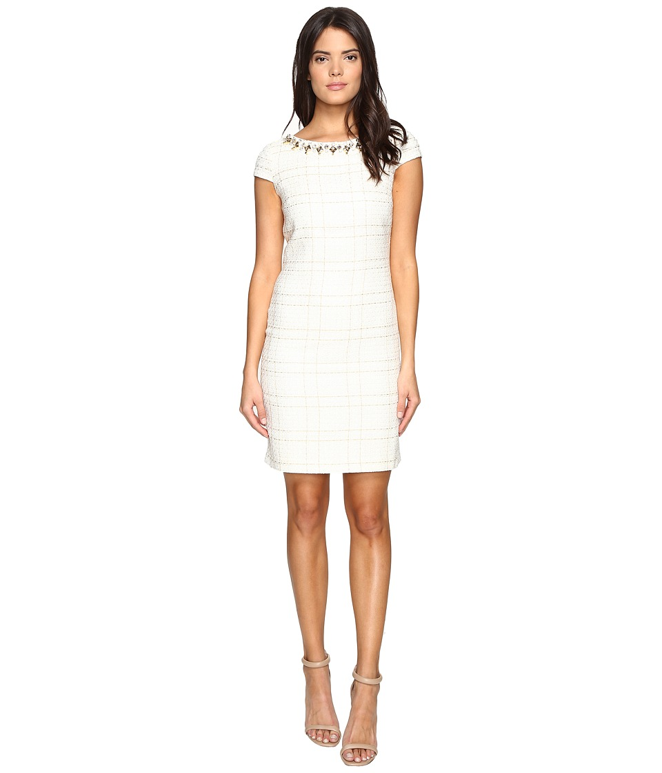 Vince Camuto - Short Sleeve A-Line Shift Dress with Beaded Neckline (Ivory) Women's Dress