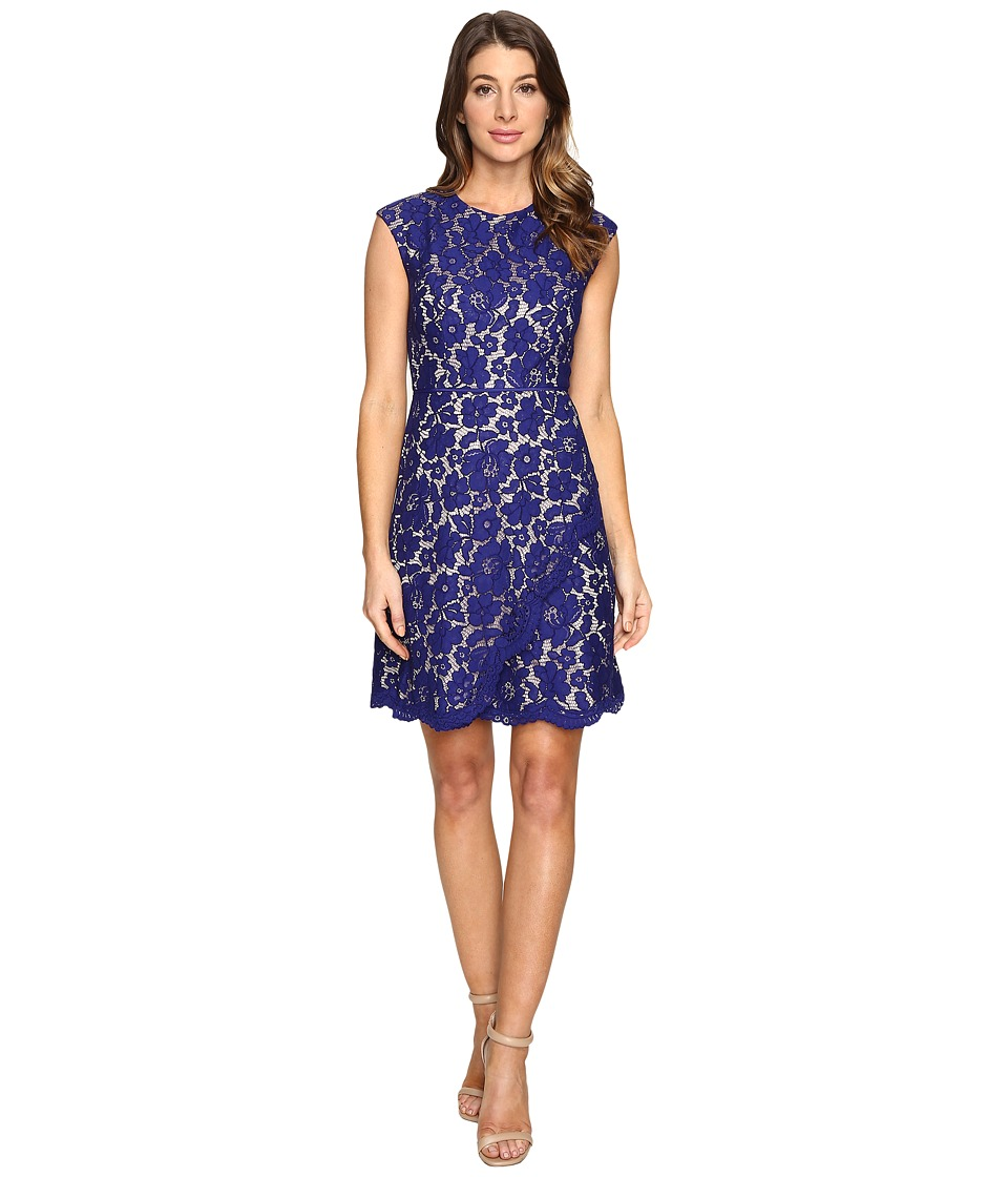 Vince Camuto - Lace Extended Cap A-Line Dress with Scallop and Overlap Skirt (Royal) Women's Dress