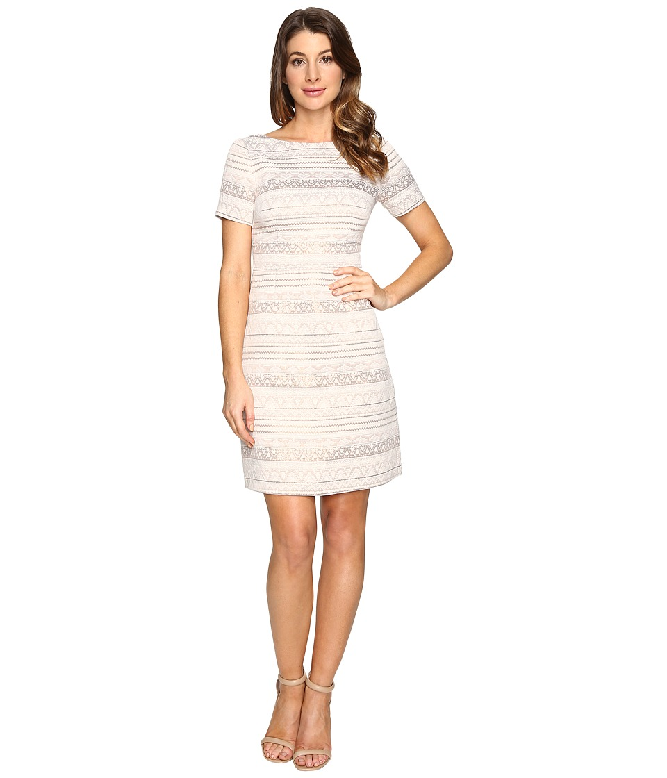 Vince Camuto - Jacquard A-Line Dress with Short Sleeves (Beige) Women's Dress