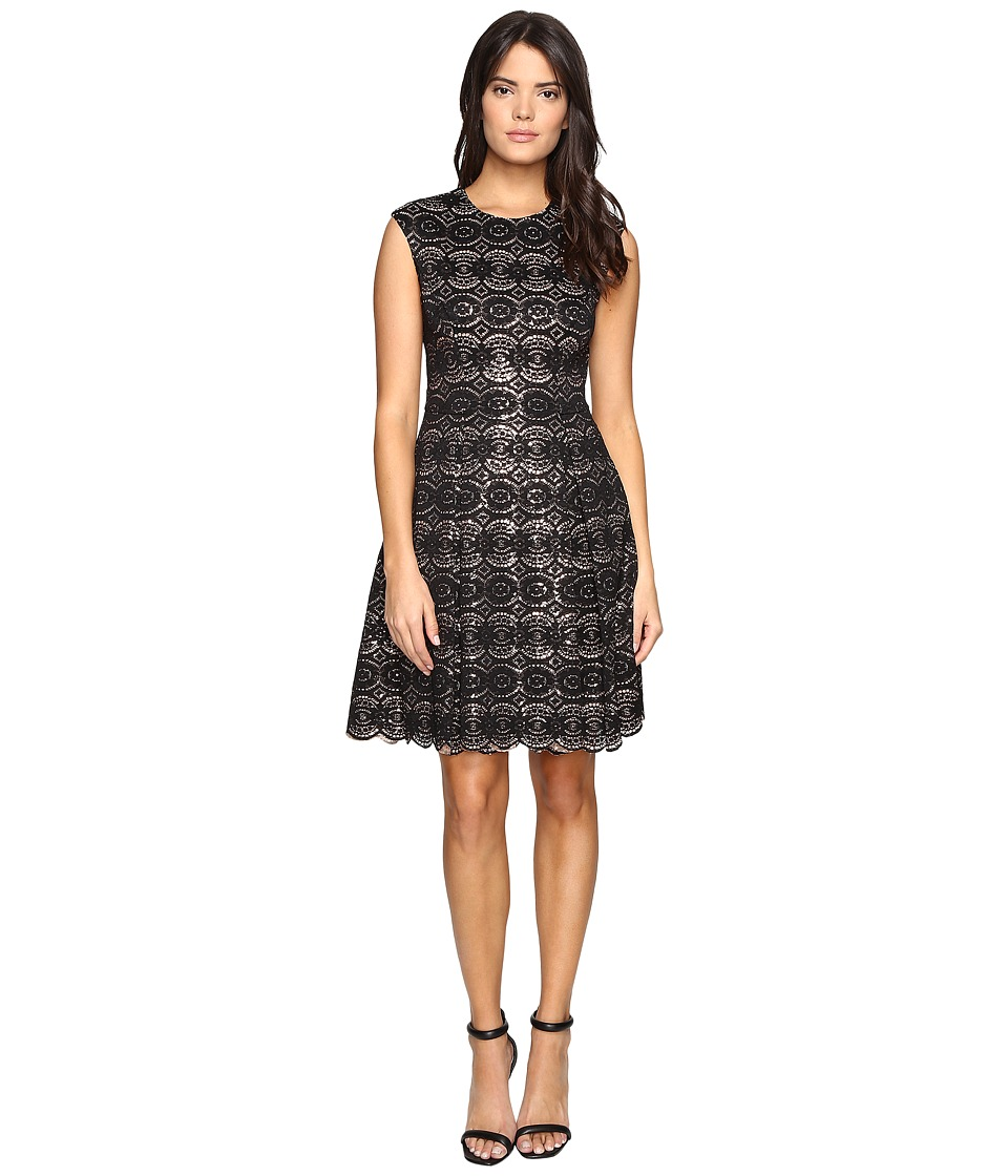 Vince Camuto - Sequin Lace Cap Sleeve Fit and Flare Dress (Black) Women's Dress