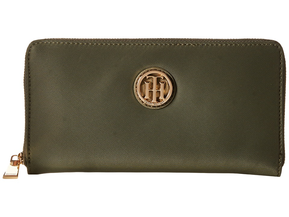 Tommy Hilfiger - Lucky Charm Large Zip Around Nylon Wallet (Olive) Wallet Handbags