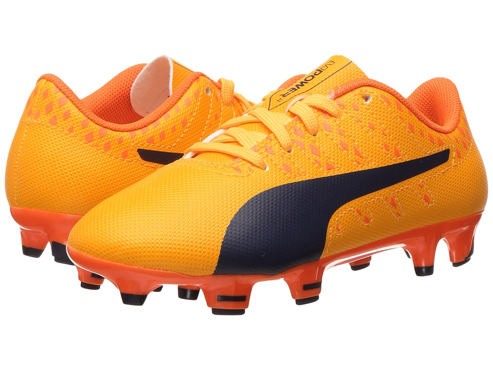 Puma Kids evoPower Vigor 4 FG Jr Soccer (Little Kid/Big Kid) (Ultra Yellow/Peacoat/Orange Clown Fish) Kids Shoes