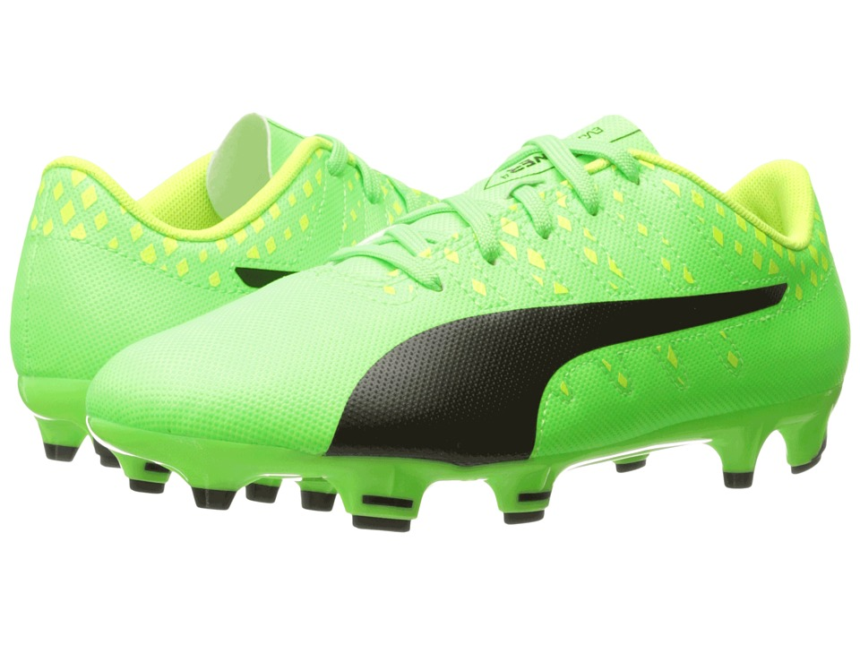 Puma Kids evoPower Vigor 4 FG Jr Soccer (Little Kid/Big Kid) (Green Gecko/Puma Black/Safety Yellow) Kids Shoes